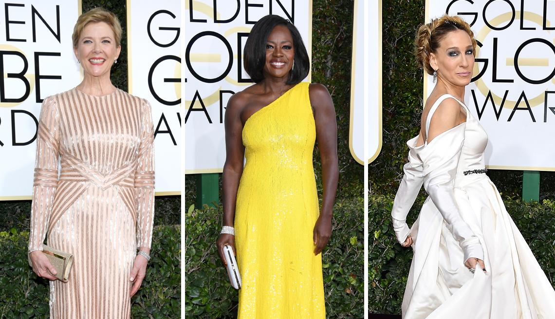 Annette Bening, Viola Davis and Sarah Jessica Parker at the 2017 Golden Globe Awards