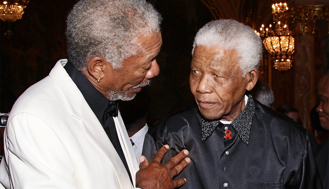 Morgan Freeman and Nelson Mandela