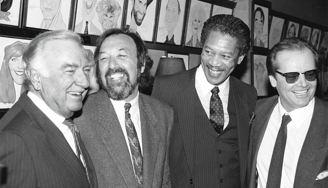 Morgan Freeman at Sardi's with Walter Cronkite, James Brooks and Jack Nicholson