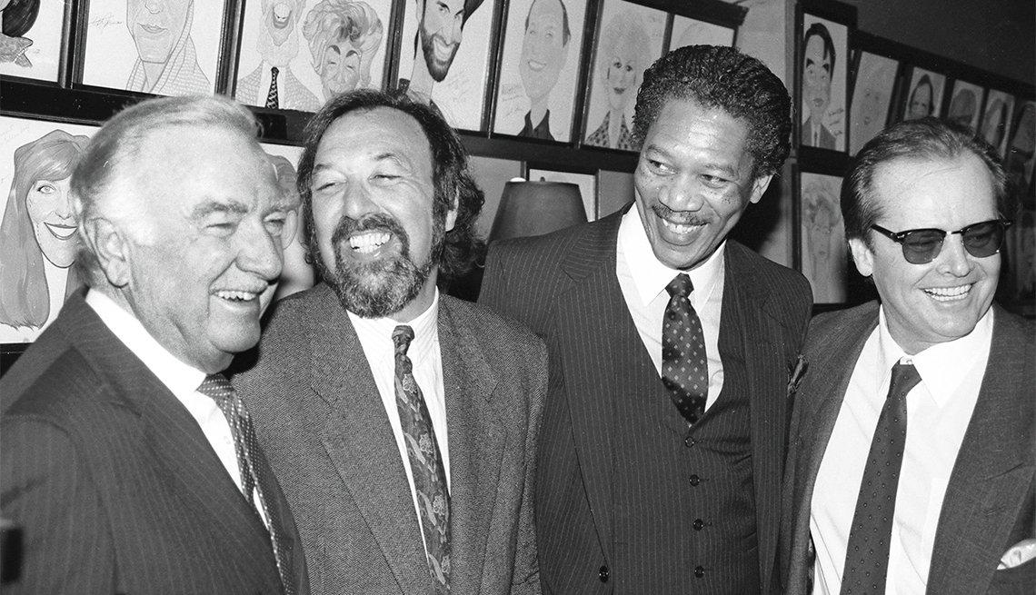Morgan Freeman at Sardi's with Walter Cronkite, James Brooks and Jack Nicholson