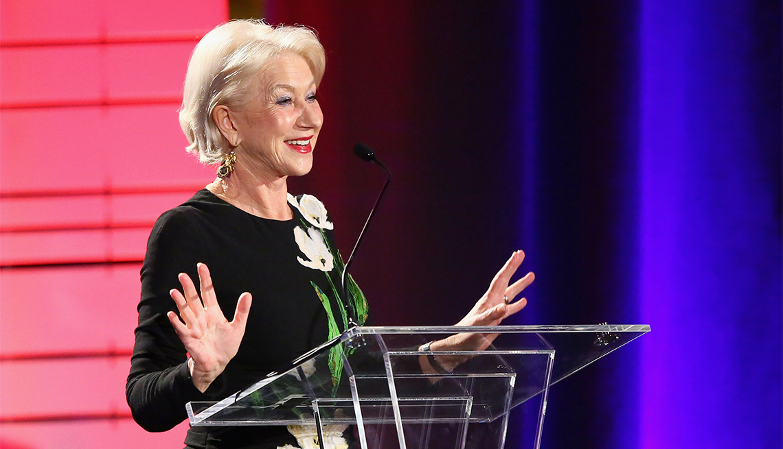 Presenter Helen Mirren speaks onstage at the 16th Annual AARP The Magazine's Movies For Grownups Awards