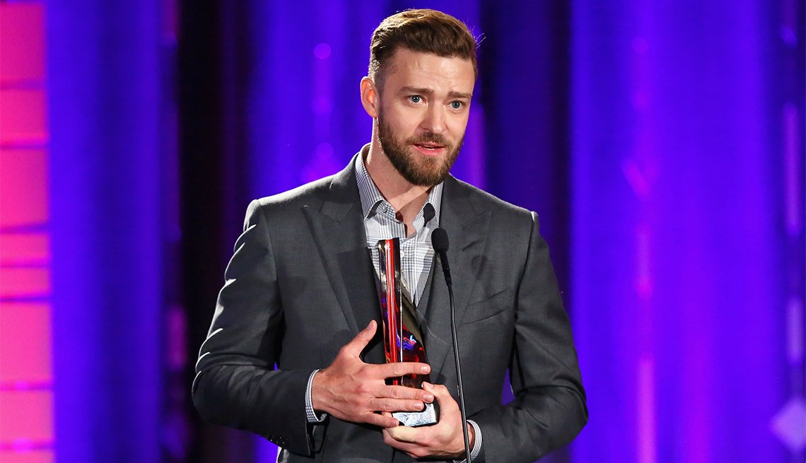 Presenter Justin Timberlake speaks onstage at the 16th Annual AARP The Magazine's Movies For Grownups Awards