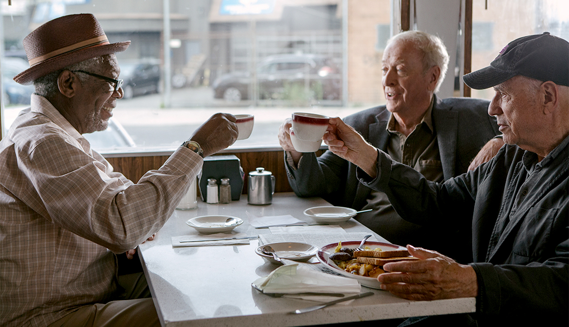 MORGAN FREEMAN as Willie Davis, MICHAEL CAINE as Joe Harding and ALAN ARKIN as Albert Garner in the New Line Cinema and Village Roadshow comedy 'GOING IN STYLE.'