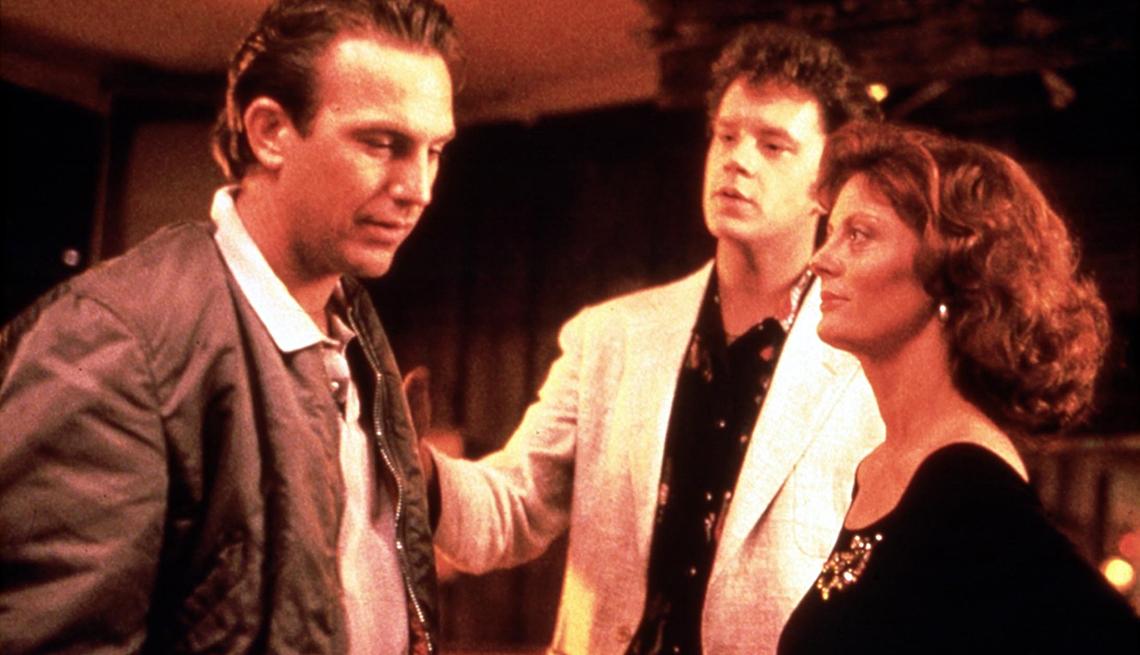 Kevin Costner, Tim Robbins y Susan Sarandon en una escena de Bull Durham