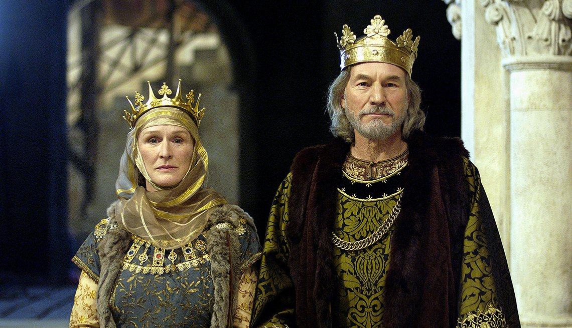 Sir Patrick Stewart y Glenn Close en la película The Lion in Winter.