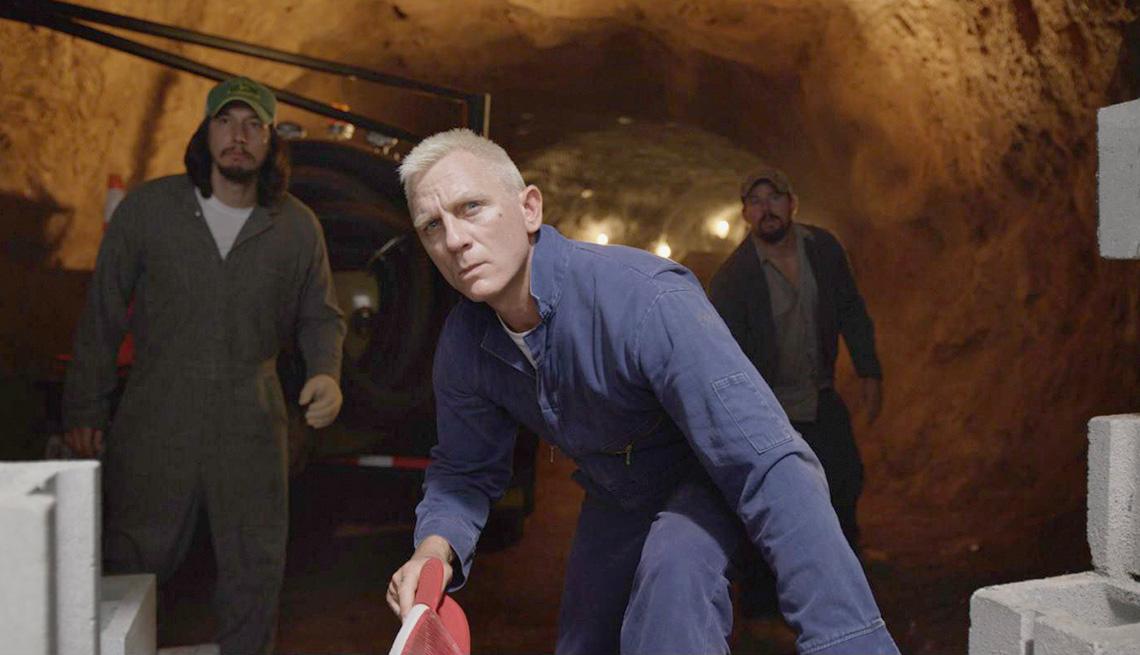 (l-r) Adam Driver, Daniel Craig, and Channing Tatum in Steven Soderbergh's 'Logan Lucky'.
