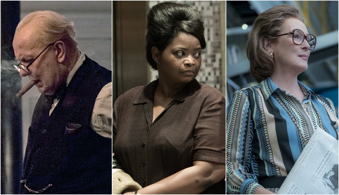"item 12, Gallery image. Gary Oldman in ""Churchill""/Focus Features; Octavia Spencer in ""The Shape Of Water""/Twentieth Century Fox/ Meryl Streep in ""The Post""/TWENTIETH CENTURY FOX"
