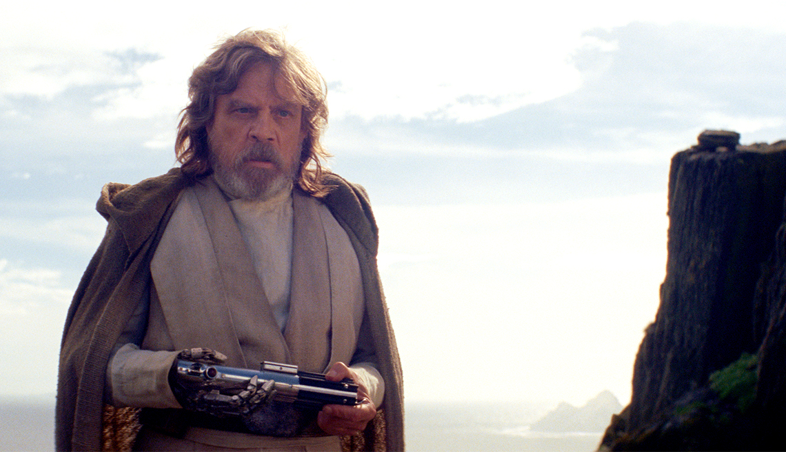 "item 8, Gallery image. Luke Skywalker, played by Mark Hamill, returns in ""Star Wars: The Last Jedi."""