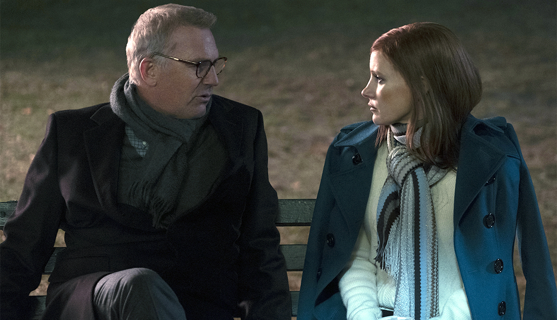 "item 11, Gallery image. Kevin Costner and Jessica Chastain star in ""Molly's Game."""