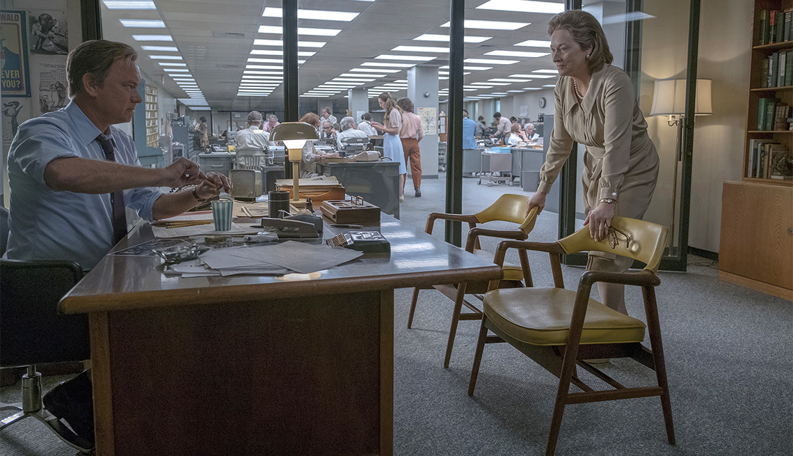 "item 10, Gallery image. Tom Hanks plays Ben Bradlee and Meryl Streep plays Kay Graham in ""The Post."""