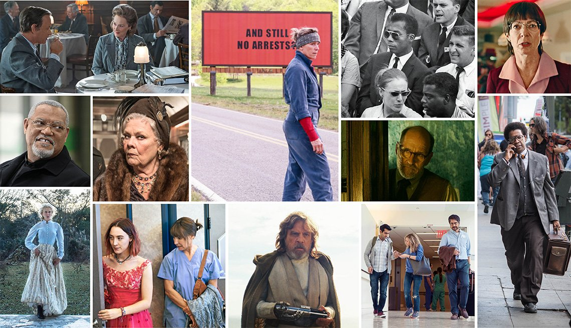 Collage of movie still photographs of movies for grownups nominees