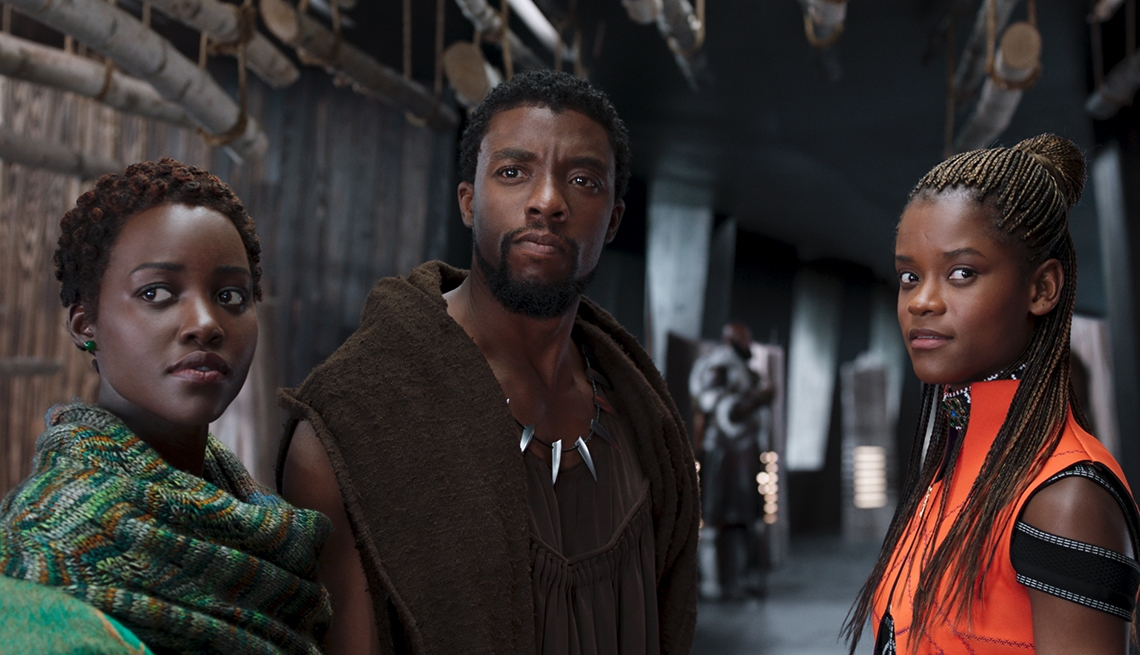movie still from 'Black Panther', featuring Chadwick Boseman, Lupita Nyong'o, and Letitia Wright