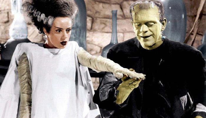 تلعب إلسا لانشيستر وبوريس كارلوف دور البطولة في فيلم Bride of Frankenstein.