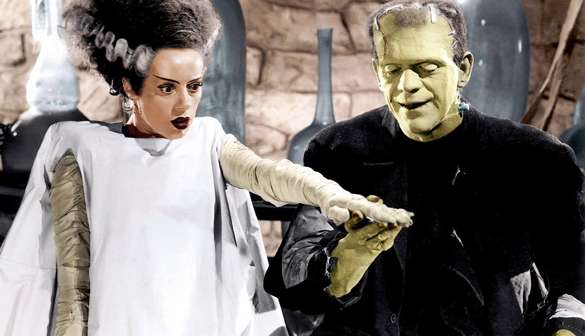 Elsa Lanchester and Boris Karloff star in 'Bride of Frankenstein' movie.