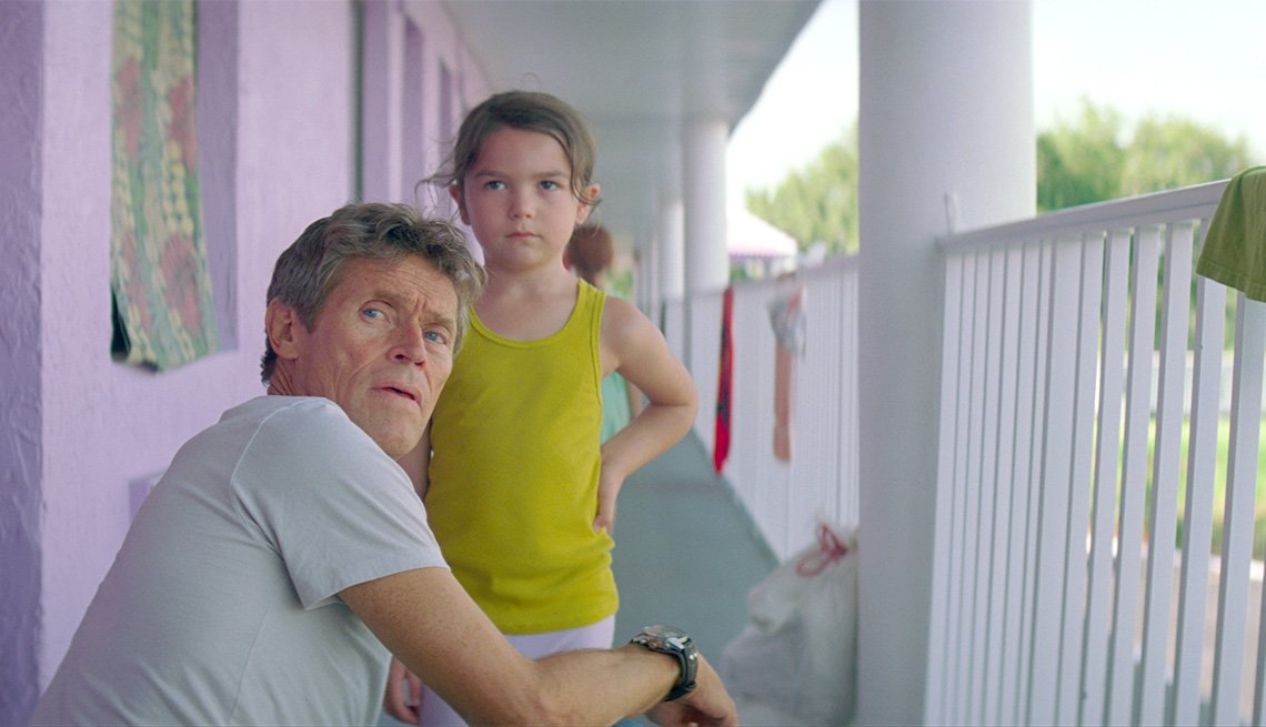 "item 6, Gallery image. Willem Dafoe and Brooklynn Prince in ""The Florida Project"""