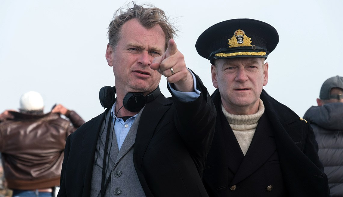 "item 12, Gallery image. Director Christopher Nolan on the set of ""Dunkirk"""