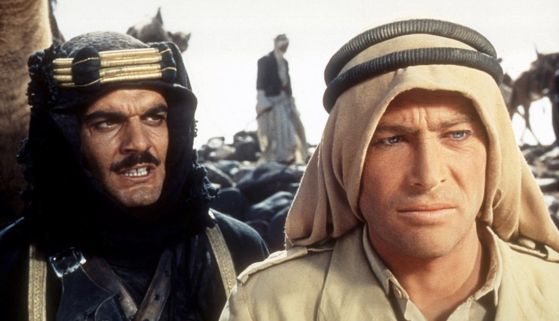Peter O'Toole and Omar Sharif in film still from 'Lawrence of Arabia'