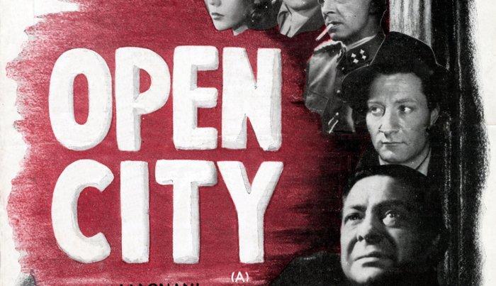 """ملصق الفيلم لفيلم """"Rome، Open City""""."""