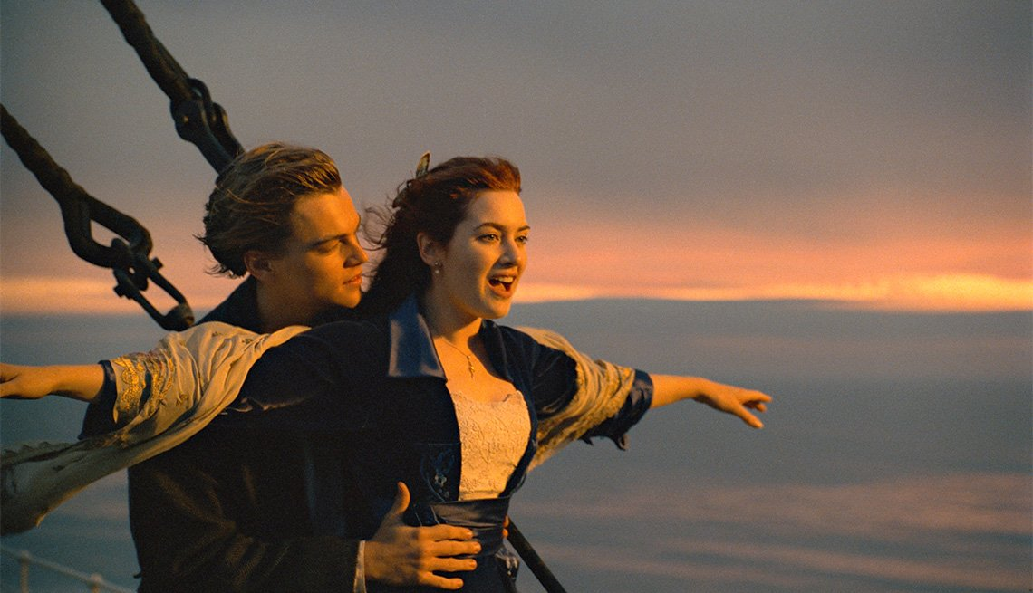 "item 10, Gallery image. Leonardo DiCaprio and Kate Winslet in ""Titanic"""