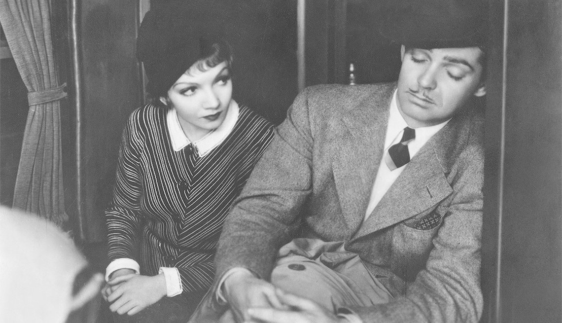"item 3, Gallery image. Claudette Colbert and Clark Gable in ""It Happened One Night"""