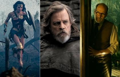 Gal Gadot, Mark Hamill, y Richard Jenkins en escenas de Wonder Woman, Star Wars Last Jedi y Shape of Water