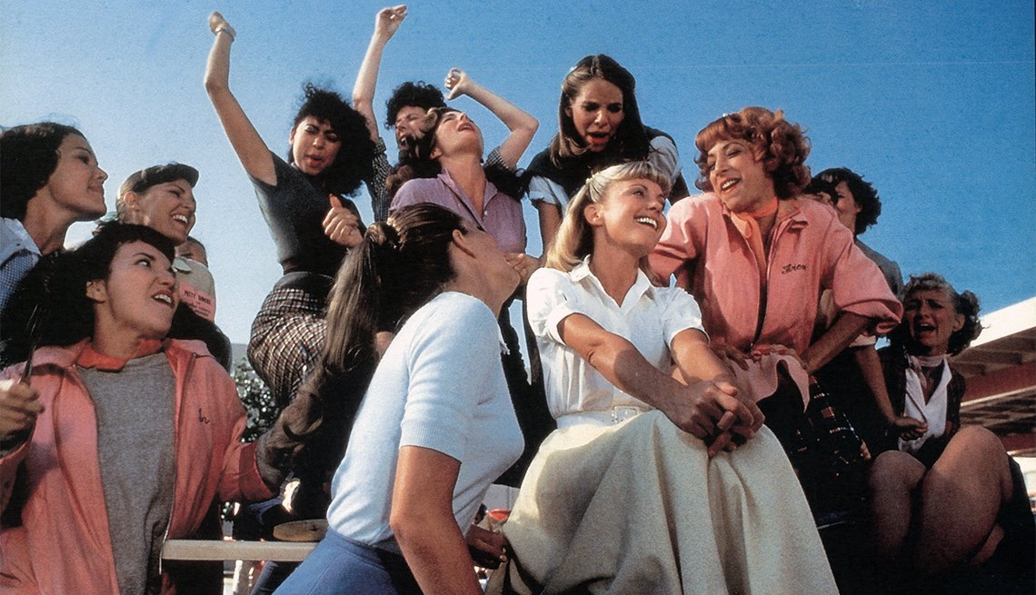 Olivia Newton-John, Didi Conn and the rest of the girls sing in a scene from the 1978 film