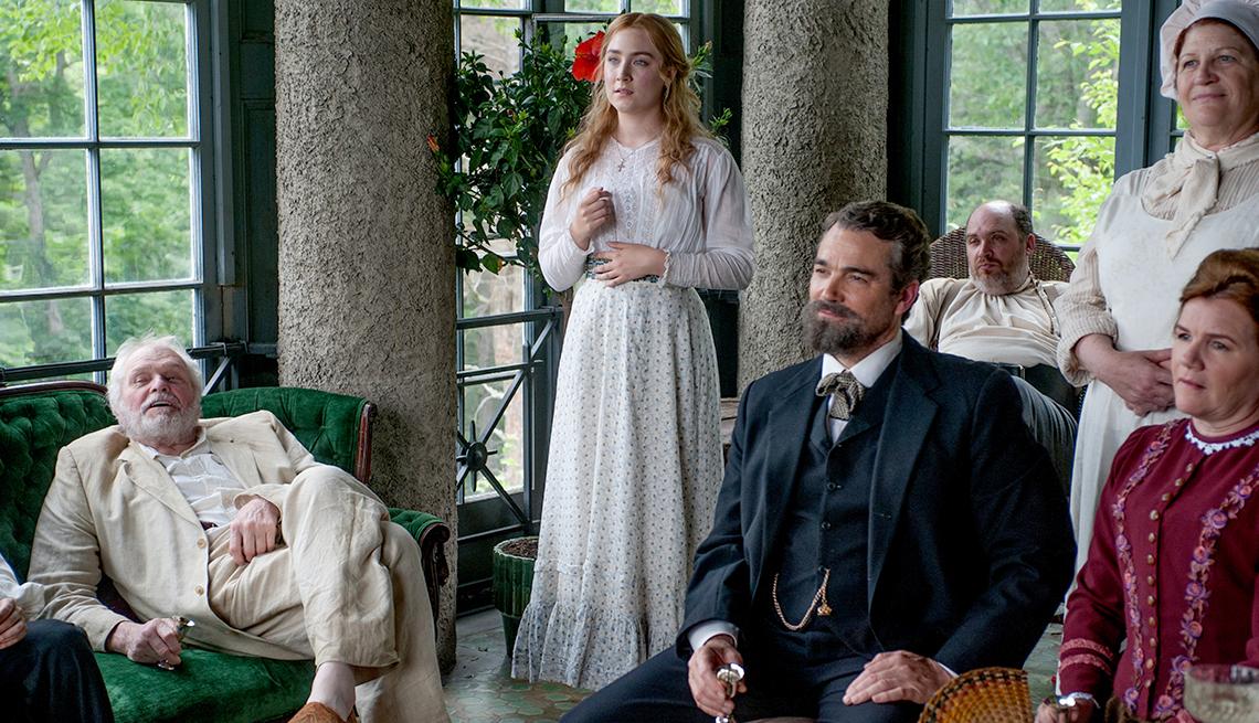 """Brian Dennehy, from left, Saoirse Ronan, Jon Tenney, Glenn Fleshler, Barbara Tirrell and Mare Winningham in the movie """"The Seagull."""""""