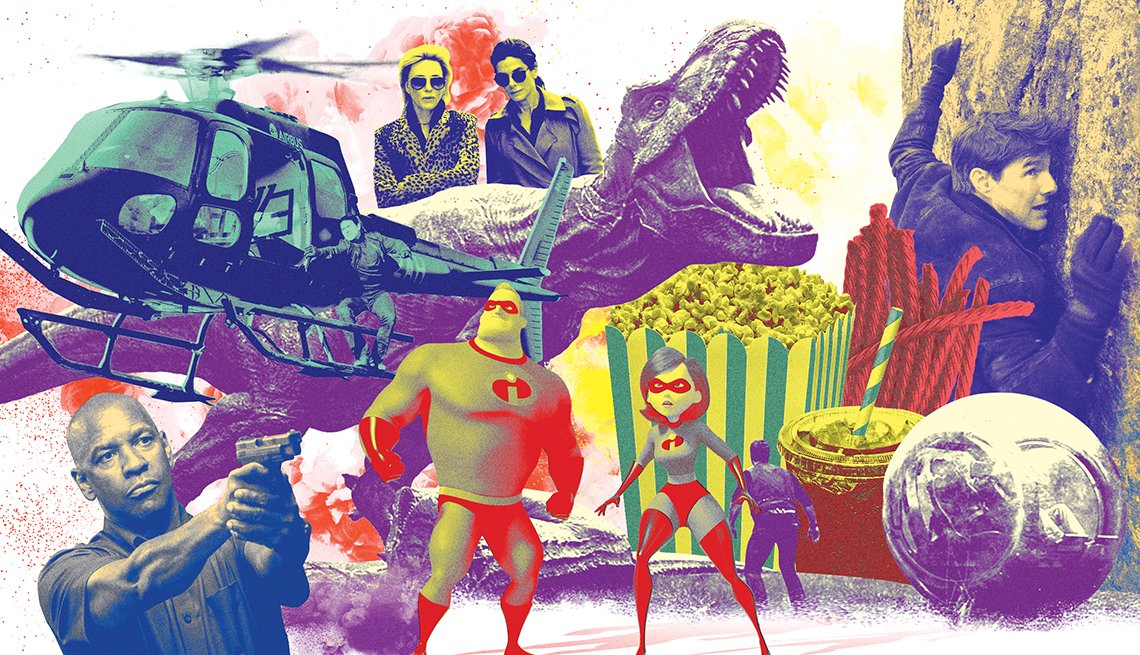 Illustrations of various images from movies, a helicopter and dinosaur are pictured.