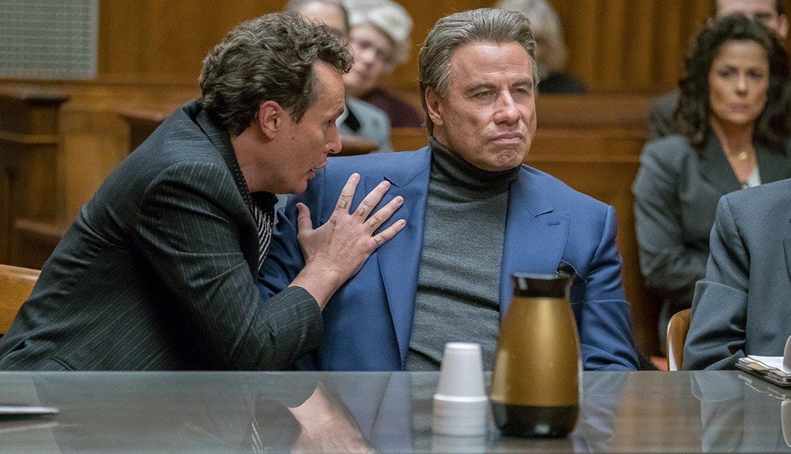 John Travolta as John Gotti in courtroom scene from 'Gotti' biopic