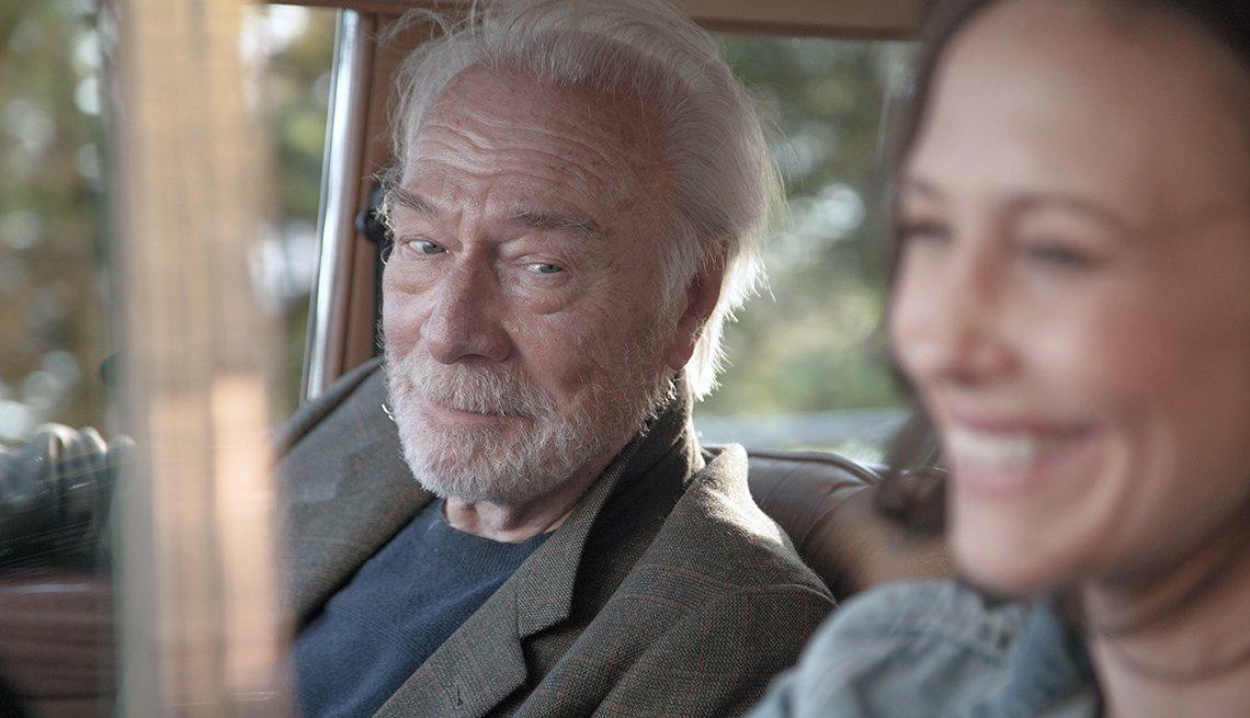 "Christopher Plummer and Vera Farmiga smiling in ""Boundaries."""