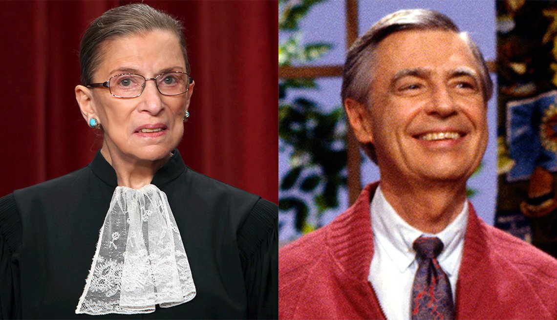 Two photos side-by-side: Justice Ruth Bader Ginsburg in her black robe, Mister Rogers in a red sweater.