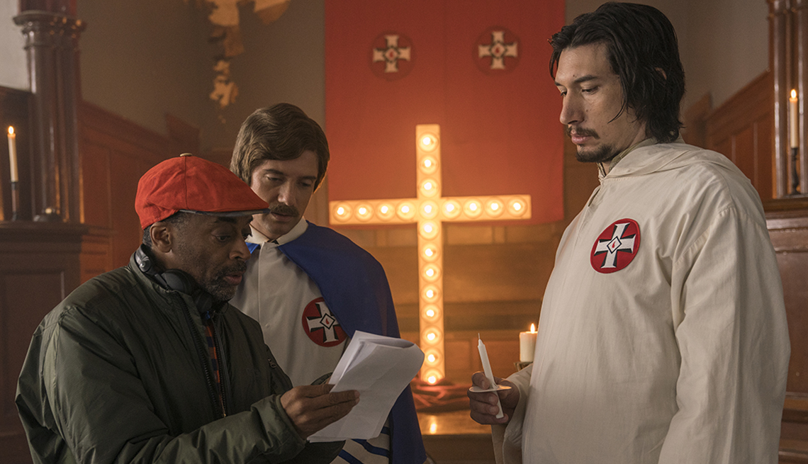 "item 6 of Gallery image - Spike Lee directing Topher Grace and Adam Driver on the set of ""BlacKkKlansman."""