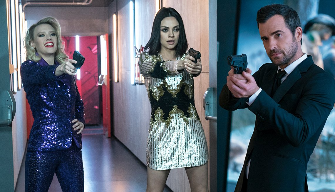 Morgan, Audrey and Drew holding guns in a scene from