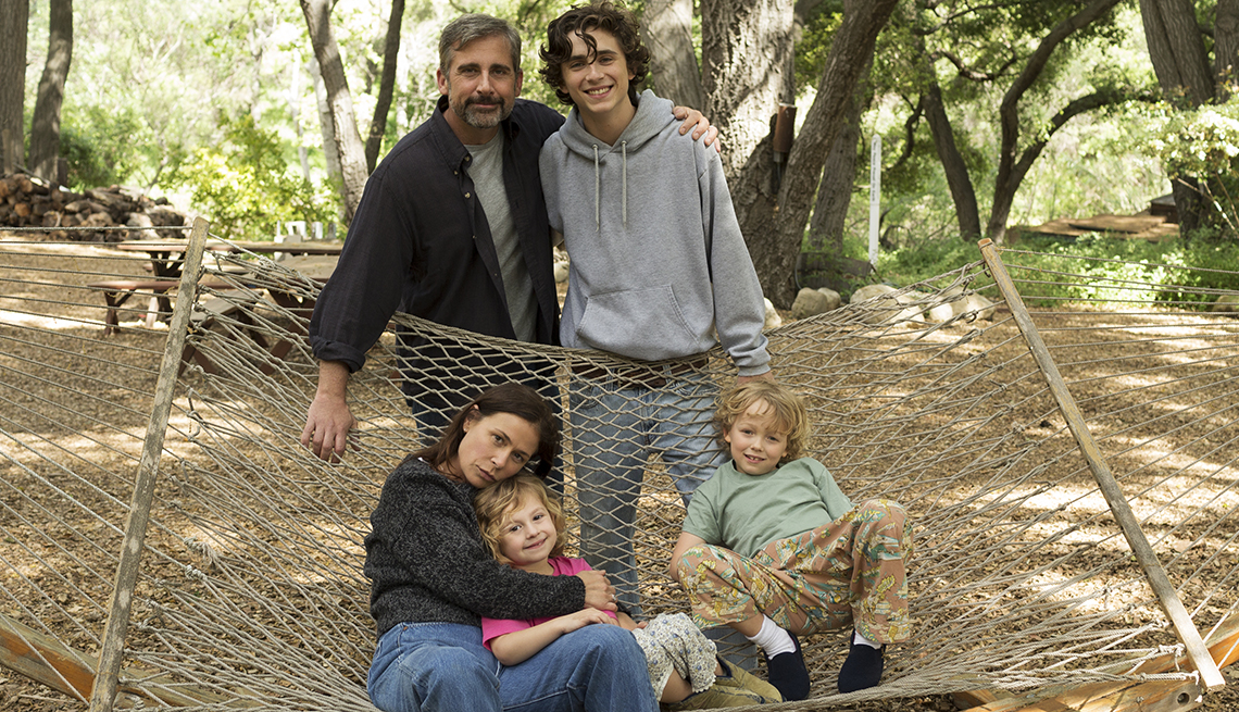 item 5 of Gallery image - Steve Carell, Timothée Chalamet, Maura Tierney, Oakley Bull and Christian Convery pose for a photo.