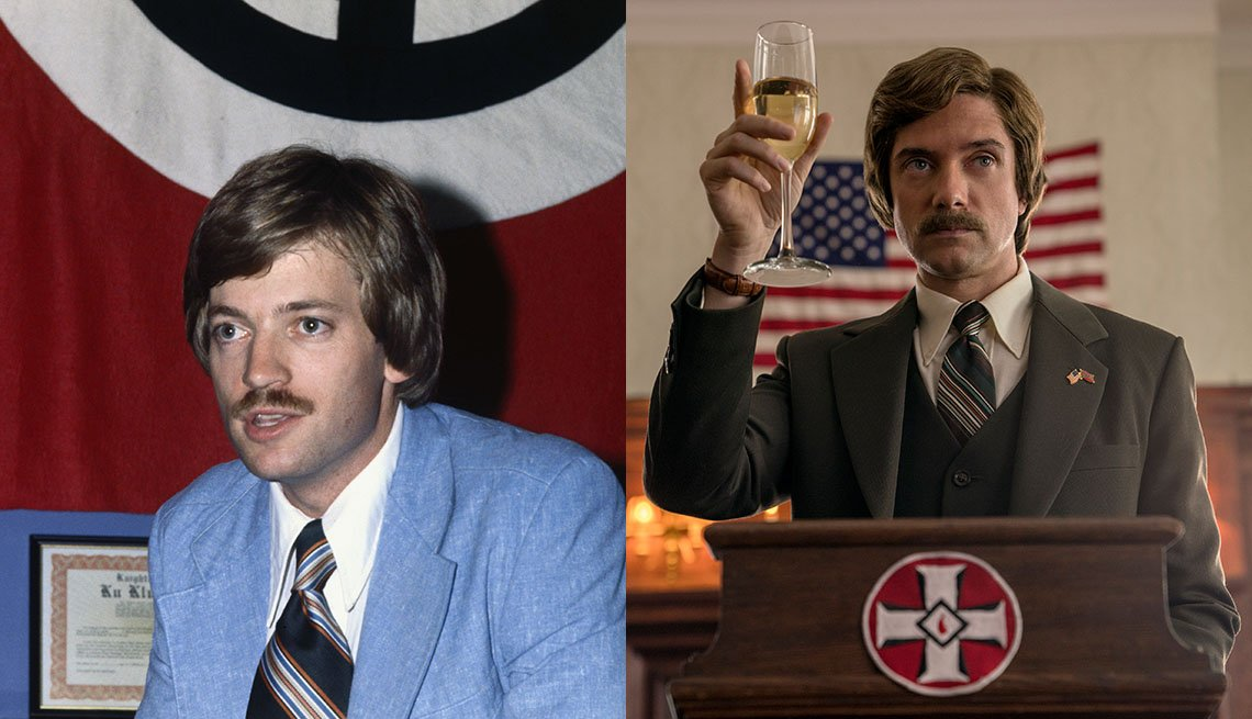 item 10, Gallery image. David Duke, Grand Wizard del Ku Klux Klan; Topher Grace interpretando a Duke.