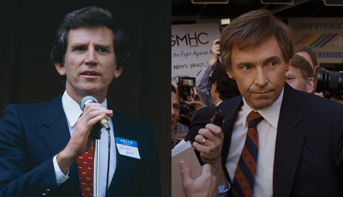 item 5, Gallery image. Senador y antiguo candidato presidencial Gary Hart; Hugh Jackman interpretando a Hart.