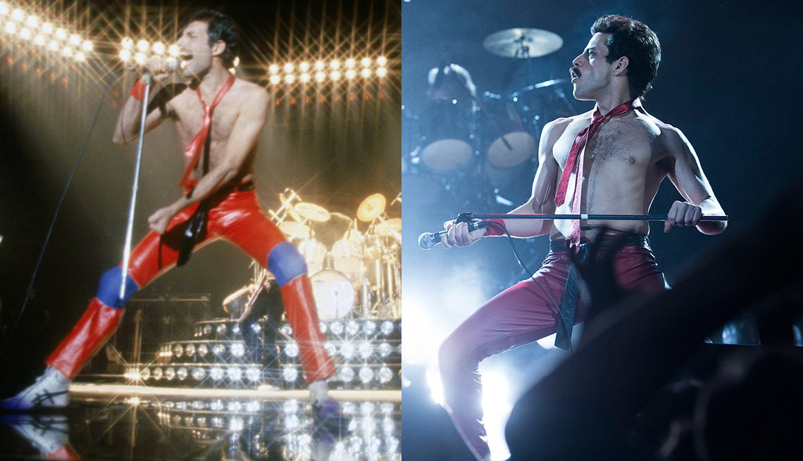 item 2, Gallery image. Freddie Mercury, líder de Queen; Rami Malek interpretando a Mercury.