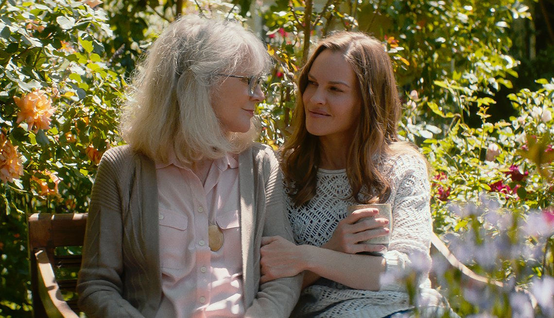 Blythe Danner and Hilary Swank sitting on a bench in