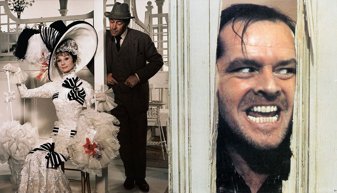 Scenes from My Fair Lady with Audrey Hepburn and Jack Nicholson in The Shining. Both Movies have been added to the National Film Registry in 2018.