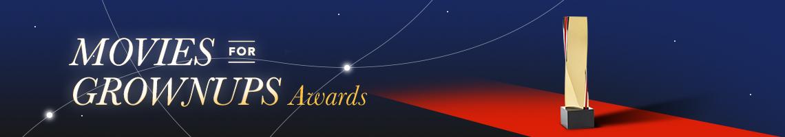 Texto Movies for Groups Awards text sobre un fondo de una alfombra roja y un premio.