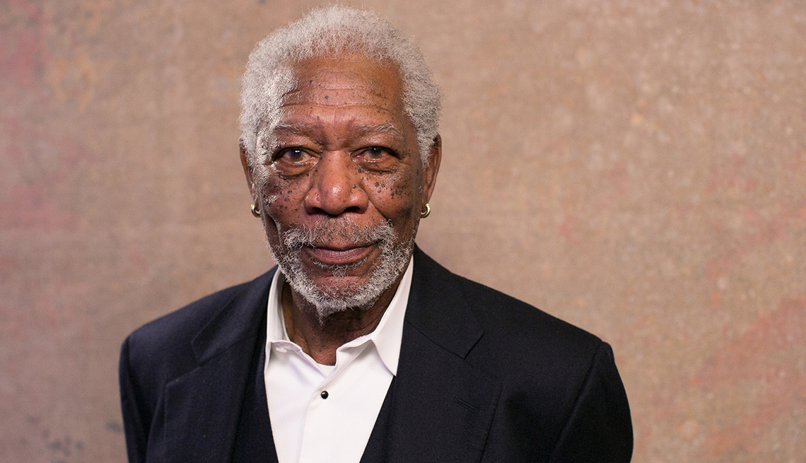 item 4 of Gallery image - Morgan Freeman poses for a photo of the Movies for Grownups Awards