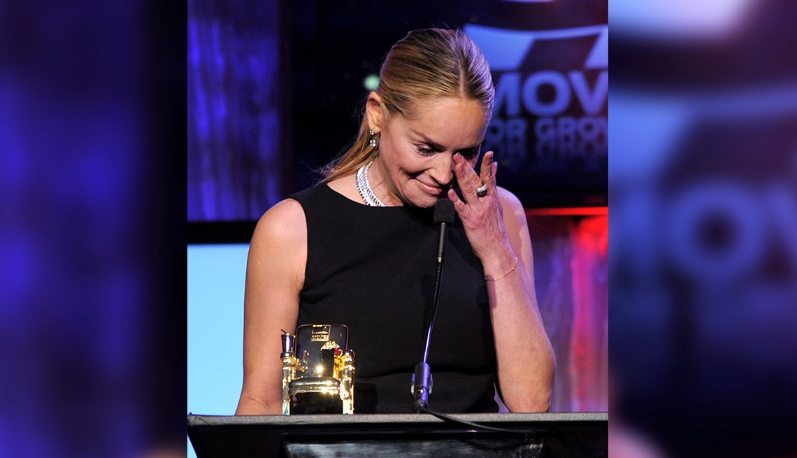 item 8 of Gallery image - Sharon Stone wipes away tears at AARP Movies for Grownups Awards