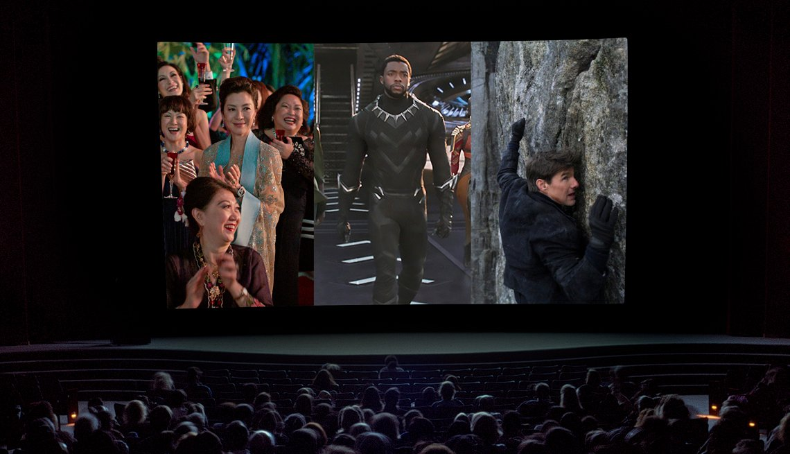 Scenes from Crazy Rich Asians, Black Panther, Mission Impossible Fallout