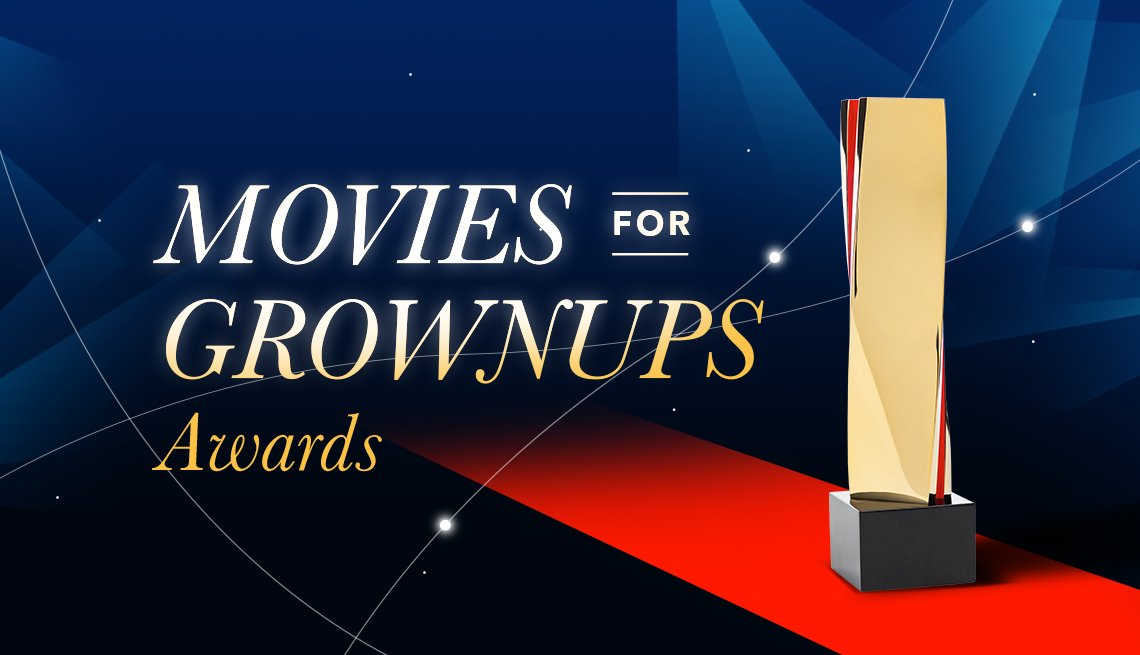 Movies for Groups Awards text  over red carpet with image of award