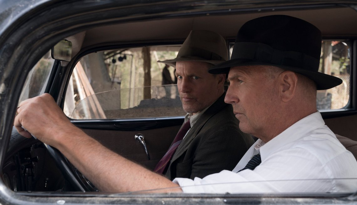 Woody Harrleson (Maney Gault) and Kevin Costner (Frank Hamer) in a scene from 'The Highwaymen'