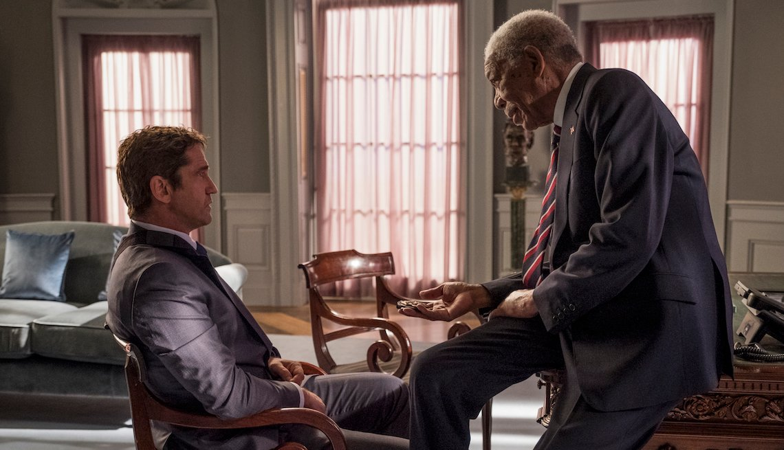 Gerard Butler and Morgan Freeman in a scene from 'Angel Has Fallen'