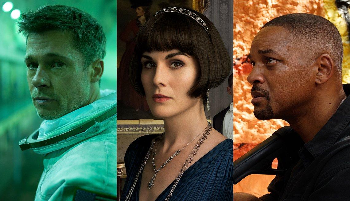 Escenas de las películas 'Ad Astra,' 'Downton Abbey,' y 'Gemini Man'