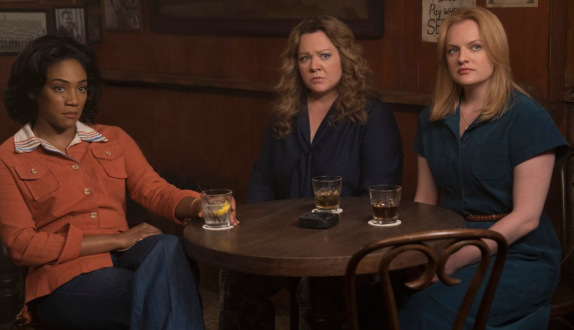 "(L-R) Tiffany Haddish as Ruby, Melissa Mccarthy as Kathy and Elisabeth Moss as Claire in New Line Cinema's mob drama ""The Kitchen."""