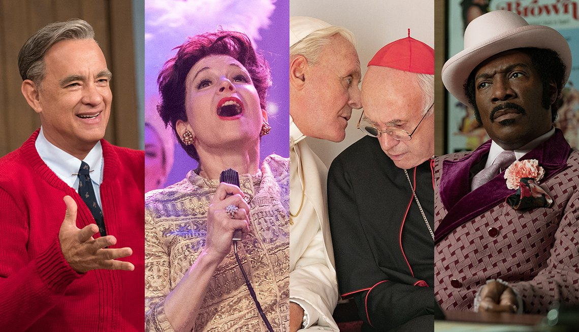 Scenes from 'A Beautiful Day in the Neighborhood,' 'Judy,' 'The Two Popes,' and 'Dolemite is My Name'