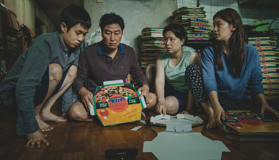 The Kim Family (Woo-sik Choi, Kang-ho Song, Hye-jin Jang, So-dam Park) in Parasite.